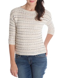 Lucky Brand Striped Open Stitch Sweater Natural White