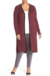 Foxcroft Plus Size Women's Ribbed Duster Cardigan Burgundy