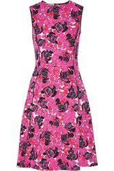 Oscar De La Renta Floral Print Stretch Cotton Poplin Dress Fuchsia