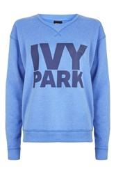 Topshop Logo Peached Sweat By Ivy Park Washed Blue