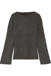 The Row Atilia Ribbed Cashmere Sweater Dark Gray