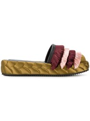 Marco De Vincenzo Quilted Tassel Slippers Women Silk Leather Rubber 38.5 Green