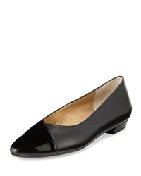 Neiman Marcus Gracy Leather Pointed Toe Flat Black Blac