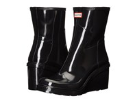 Hunter Original Refined Mid Wedge Gloss Black Women's Boots