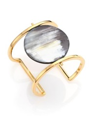 Nest Horn Disc Statement Cuff Bracelet Gold Grey
