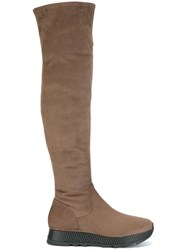 Steffen Schraut Flat Platform Knee Length Boots Nude And Neutrals