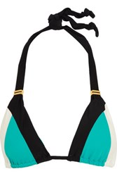 Vix Swimwear Bia Color Block Triangle Bikini Top Turquoise