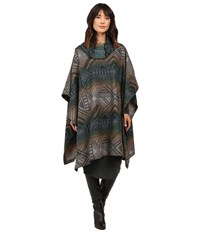 Pendleton Funnel Neck Poncho Tumbling Gems Black Women's Coat Navy