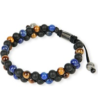 Nialaya Double Lapis Tiger Eye And Matte Onyx Beaded Bracelet Blue Multi