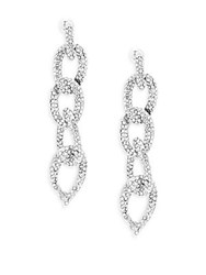 Kenneth Jay Lane Couture Collection Studded Cable Link Linear Earrings Silver