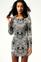 Boohoo Skull Print Long Sleeve Bodycon Dress Cream
