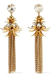 Elizabeth Cole Gold Plated Swarovski Crystal Earrings One Size
