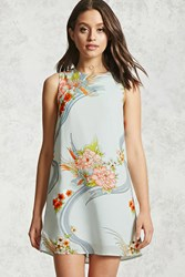 Forever 21 Floral Graphic Shift Dress Mint Coral