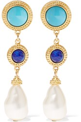 Ben Amun Gold Tone Enamel And Faux Pearl Earrings Blue