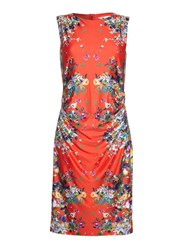 Yumi Sleeveless Mirrored Floral Dress Red