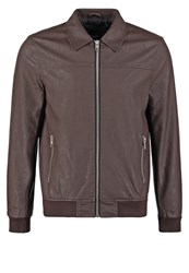 New Look Harrington Faux Leather Jacket Mid Brown