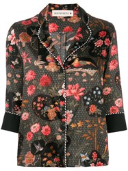 Shirtaporter Floral Fitted Blouse Black
