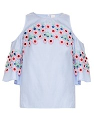 Peter Pilotto Crochet Trimmed Cold Shoulder Top Light Blue