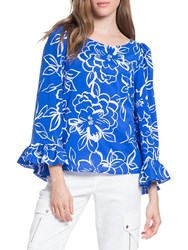 Tracy Reese Flounced Printed Top Blue Floral