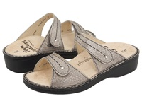 Finn Comfort Catalina 2538 Smog Corten Leather Soft Footbed Women's Slide Shoes Metallic