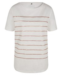 Olsen Sequin Stripe T Shirt White
