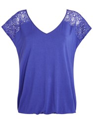 Celuu Lilah Bubble Hem Lace Yoke Top Purple