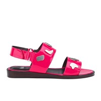 Folk Women's Indra Two Part Patent Leather Sandals Fluro Pink