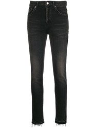 Saint Laurent Stonewashed Bootcut Jeans Black