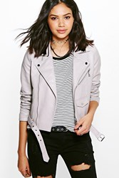 Boohoo Boutique Belted Faux Leather Biker Jacket Grey