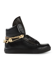 Versus Chain Detail Studded Hi Top Sneakers Black