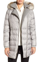 Catherine Malandrino Women's Print Quilted Coat With Faux Fur Trim