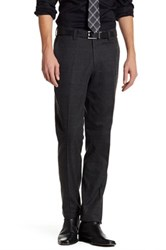 Louis Raphael Windowpane Flannel Flat Front Pant Gray