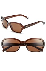 Women's Fossil 55Mm Rectangle Sunglasses Transparent Brown