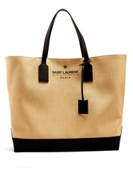 Saint Laurent Logo Print Canvas And Leather Tote Black Beige