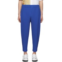 Homme Plisse Issey Miyake Blue Cotton Surface Trousers