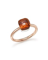 Pomellato Nudo Mini Ring With Faceted Madeira Quartz In 18K Rose And White Gold Brown Rose