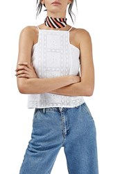 Topshop Women's Brodierie Square Neck Tank