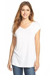 Women's Halogen Side Slit Double V Neck Tee White