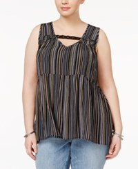 Eyeshadow Trendy Plus Size Cutout High Low Top Black Stripe