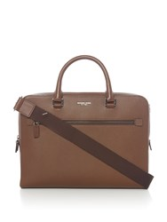 Michael Kors Harrison Zip Top Saffiano Leather Briefcase Brown