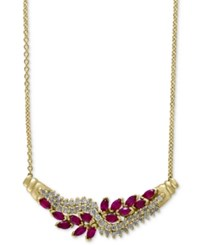 Effy Collection Effy Ruby 1 5 8 Ct. T.W. And Diamond 5 8 Ct. T.W. Collar Necklace In 14K Gold Red