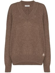 Jil Sander Oversized V Neck Jumper Brown