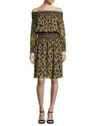 Michael Michael Kors Arbor Smocked Off The Shoulder Dress Taxi Yellow