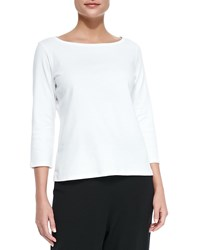 Eileen Fisher 3 4 Sleeve Organic Cotton Tee White