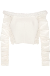 Balenciaga Bead Embellished Mesh Paneled Basketweave Crepe Top