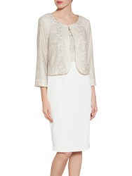 Gina Bacconi Embroidered Bodice Crepe Dress And Jacket Spring Beige