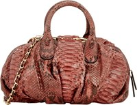 Zagliani Python Bigne Shoulder Bag Pink