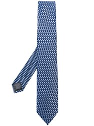 Z Zegna Geometric Pattern Embroidered Tie Blue
