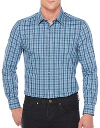 Perry Ellis Travel Luxe Cotton Blend Check Shirt Blue Wing
