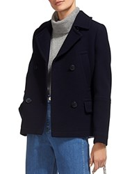 Whistles Cropped Pea Coat Navy